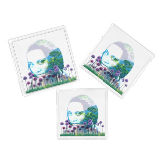 Zen Garden Woman Asian Bonsai + Purple Allium Acrylic Tray