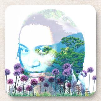 Zen Garden Woman Asian Bonsai + Purple Allium Coaster