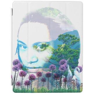 Zen Garden Woman Asian Bonsai + Purple Allium iPad Cover