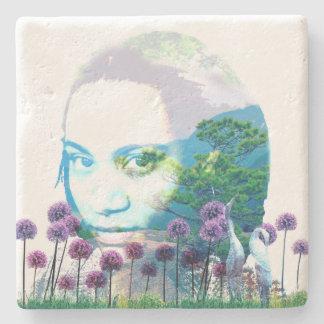 Zen Garden Woman Asian Bonsai + Purple Allium Stone Coaster