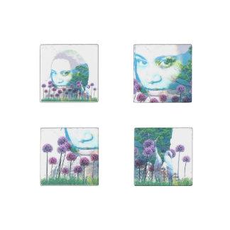 Zen Garden Woman Asian Bonsai + Purple Allium Stone Magnet