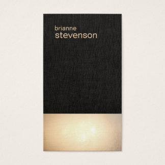 Zen Gold Glow Minimalist Faux Linen Business Card