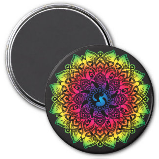 Zen Henna Mandala Hippy Cat Magnet