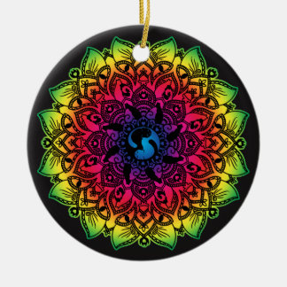 Zen Henna Mandala Hippy Cat Round Ceramic Decoration