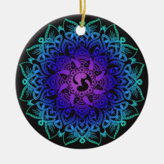 Zen Henna Mandala Hippy Cat Round Ceramic Decoration