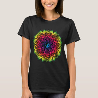 Zen Henna Mandala Hippy Cat T-Shirt