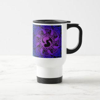 Zen Henna Mandala Hippy Cat Travel Mug