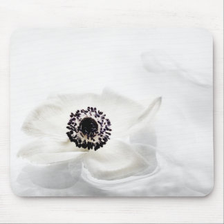 Zen High Key White Anemone on Water Background Mouse Mat