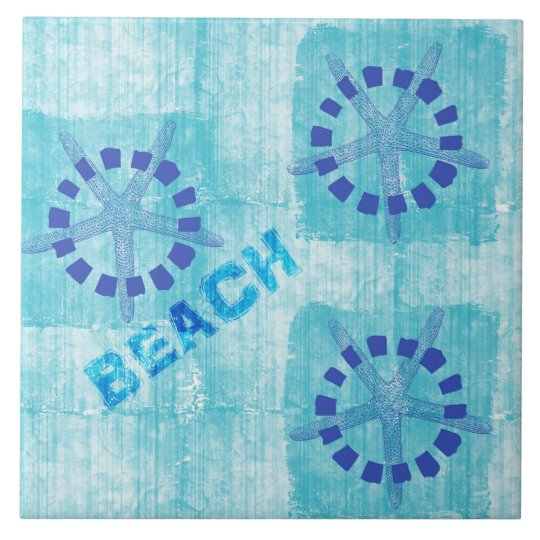 Zen Inspired Beach Theme Starfish Large Square Tile