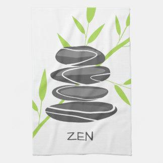 Zen kitchen towel with pebble stones stacking art