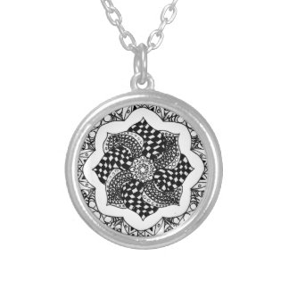 Zen Mandala - pen and ink design Personalized Necklace