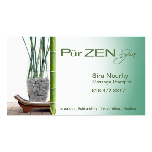 Zen massage therapist spa template zazzle for Massage therapy business card templates