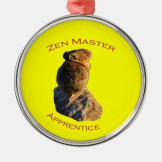 Zen Master Apprentice Round Metal Christmas Ornament