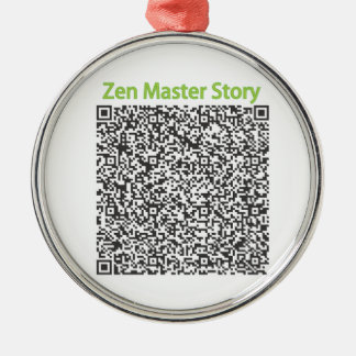 Zen Master Story in QR Code Silver-Colored Round Decoration