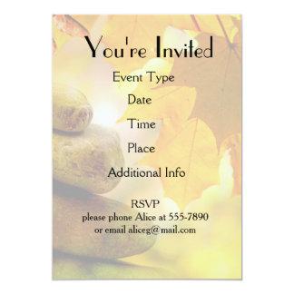Zen meditation stones and Maple Leaves 13 Cm X 18 Cm Invitation Card