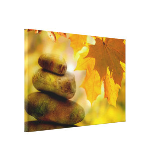 Zen meditation stones and Maple Leaves Canvas Print