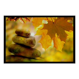 Zen meditation stones and Maple Leaves Posters