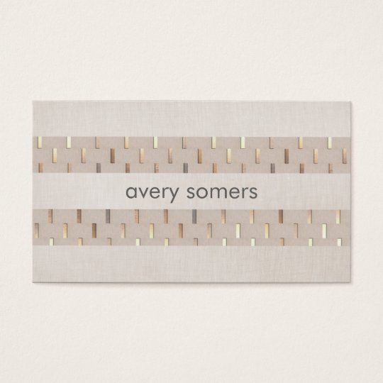 Zen Minimalist Striped Faux Beige Linen and Gold Business Card