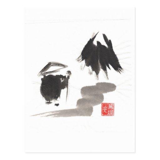 Zen Monk and Mountain of Enlightenment Postcard