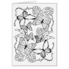 Zen Nature Garden Butterflies Colouring Page Card