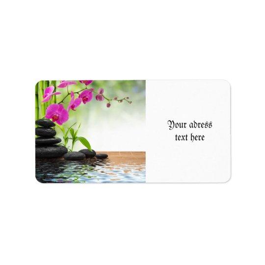 zen,peace,pink orchid,beautiful,spa,healing,yoga,c address label