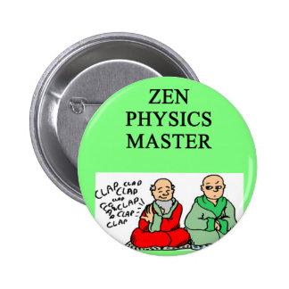 zen physics master pinback button