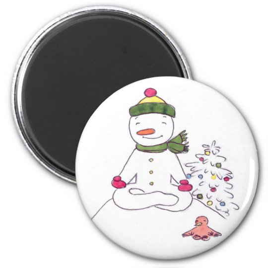 Zen Snowman, Yoga Snowman 6 Cm Round Magnet