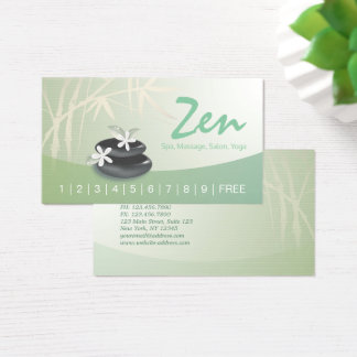 ZEN Stone Bamboo Massage Therapy Salon Spa Loyalty Business Card