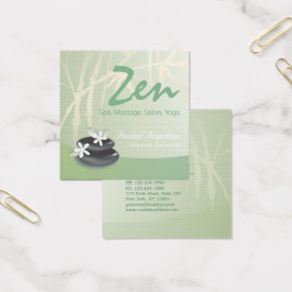 ZEN Stone Bamboo YOGA SPA Massage Beauty Salon Square Business Card