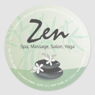 ZEN Stone Bamboo YOGA SPA Massage Therapy Salon Round Sticker