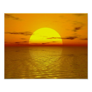 Zen Sunset Orange Yellow Ocean Love Peace Harmony Poster