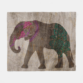 Zen Tribal Asian Elephant Fleece Blanket