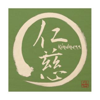 Zen wood wall art   Green enso circle and kanji