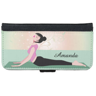 Zen Yoga Woman and Monogram Name iPhone 6 Wallet Case