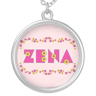 Zena in Flores Pink Silver Plated Necklace