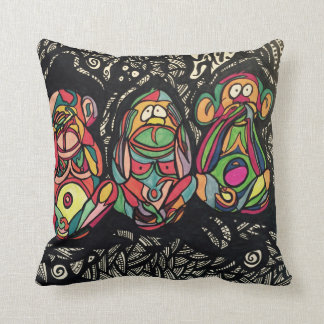 Zendoodle see/hear/speak no evil cushion