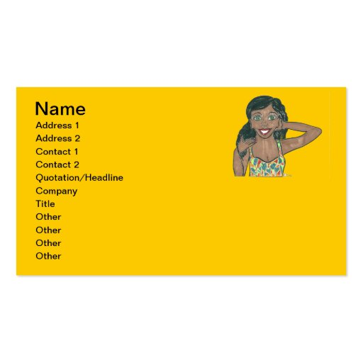 Zenith is on top of her Game Business Cards