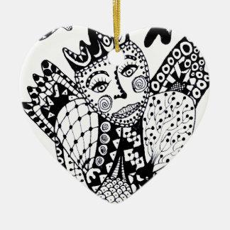 Zentangle Angel Ornament
