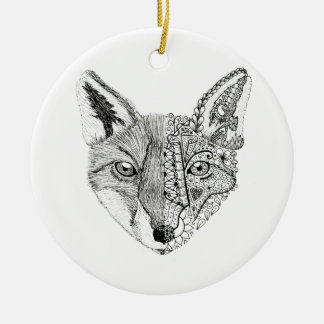 Zentangle Art Fox Ornament