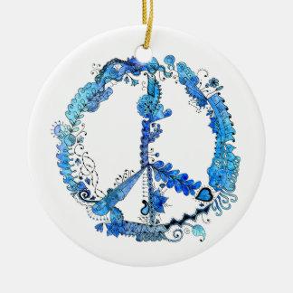Zentangle Art Peace Sign Blue Watercolors Christmas Ornaments