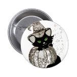 Zentangle Black Cat Green Eyes Pumpkin Pins