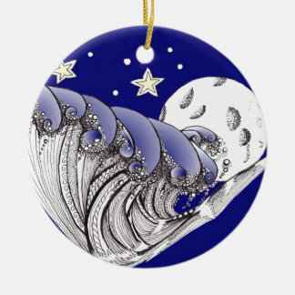 Zentangle Blue Waves and Full Moon Christmas Ornaments