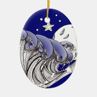 Zentangle Blue Waves and Full Moon Christmas Ornament