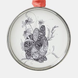 Zentangle Bunny Rabbit Christmas Ornament