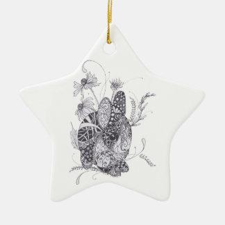 Zentangle Bunny Rabbit Christmas Ornaments