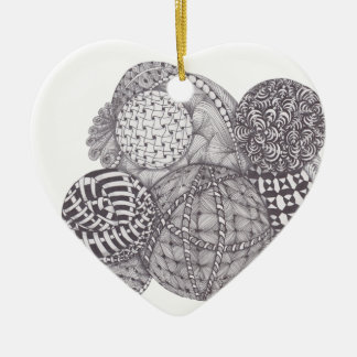 Zentangle design Yarn Balls Christmas Tree Ornament