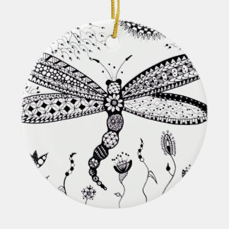 Zentangle Dragonfly Christmas Ornaments