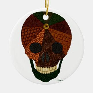 Zentangle Earth Skull Christmas Tree Ornament