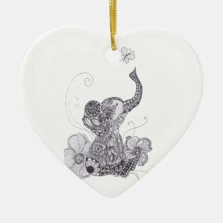 Zentangle Elephant Butterfly Christmas Tree Ornament