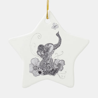 Zentangle Elephant Butterfly Ornament
